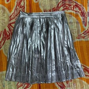 Miss Meme Skirts Miss Meme Metallic Silver Pleated Skirt Poshmark